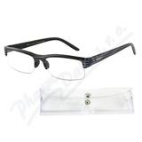 Brýle čtecí +2. 00 černé s pruhy a pouzdrem