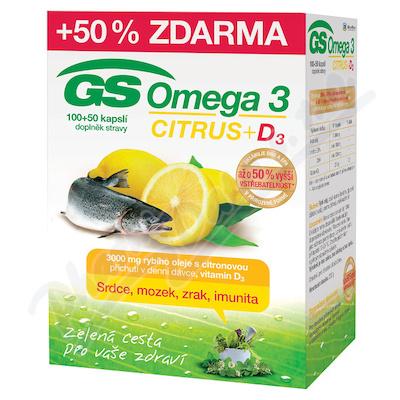 GS Omega 3 Citrus+D3 cps.100+50 ČR-SK